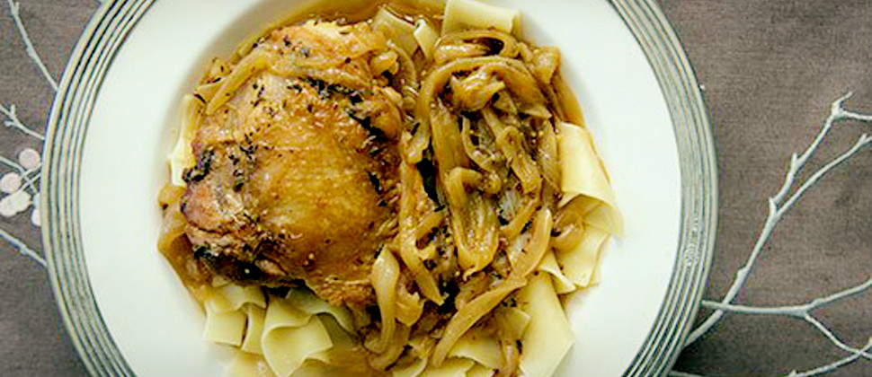 Beer Braised Chicken And Onions Recipe — Dishmaps