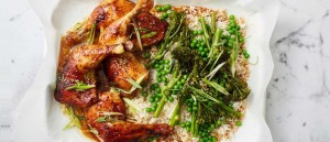 Sesame chicken with broccolini rice